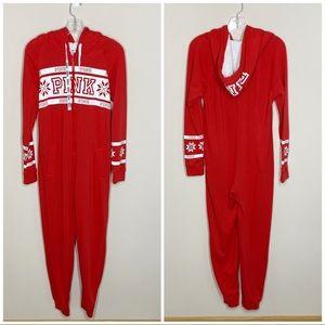 PINK VSX Pajama Onesie Hooded Red